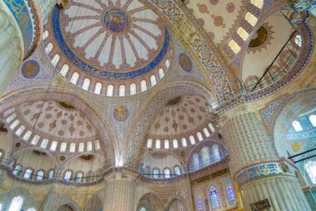 The astounding ceiling detail of The Blue Mosque in Istanbul, Turkey